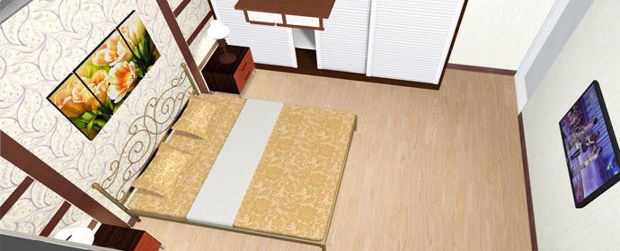 艺术气息铁艺床欧式卧室居室搭配效果——俯视图