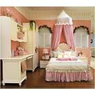 我爱我家粉公主南美松纯白床