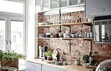 11个厨房砖墙背景墙装修 文艺复古工业风